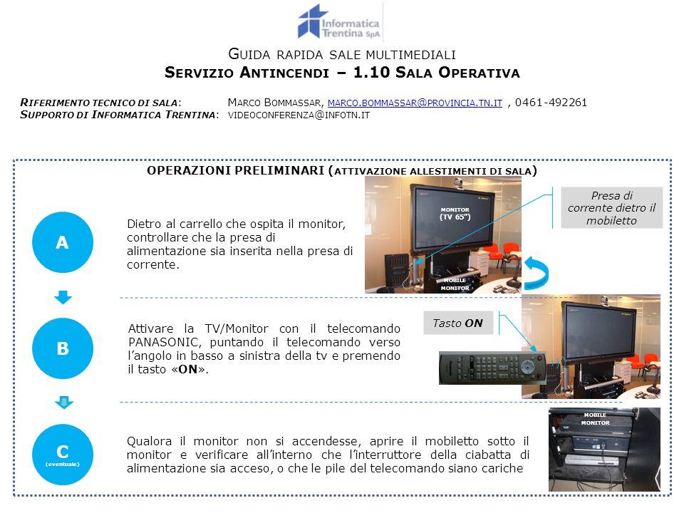 G UIDA RAPIDA SALE MULTIMEDIALI – S ERVIZIO A NTINCENDI – 1.10 S ALA O PERATIVA A TTIVAZIONE DEL SISTEMA DI VIDEOCONFERENZA 1 Tasto INPUT Una volta acceso il monitor (vedasi operazioni preliminari), qualora non compaia limmagine della videoconferenza, premere a ripetizione il tasto «INPUT» fino alla comparsa della schermata di videoconferenza.