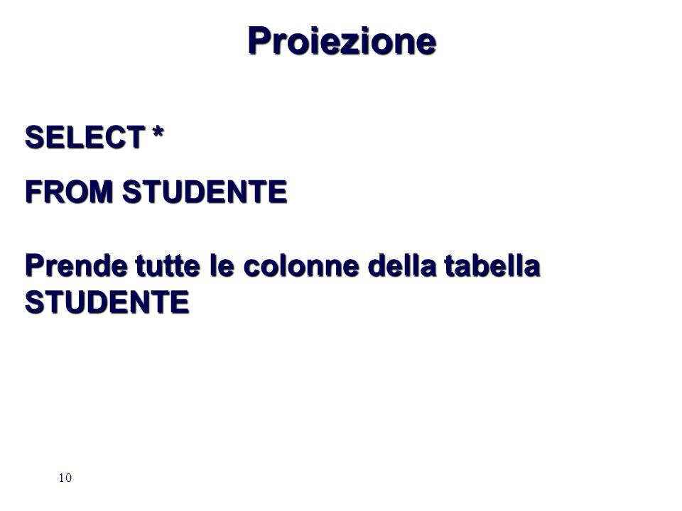 10Proiezione SELECT * FROM STUDENTE Prende tutte le colonne della tabella STUDENTE