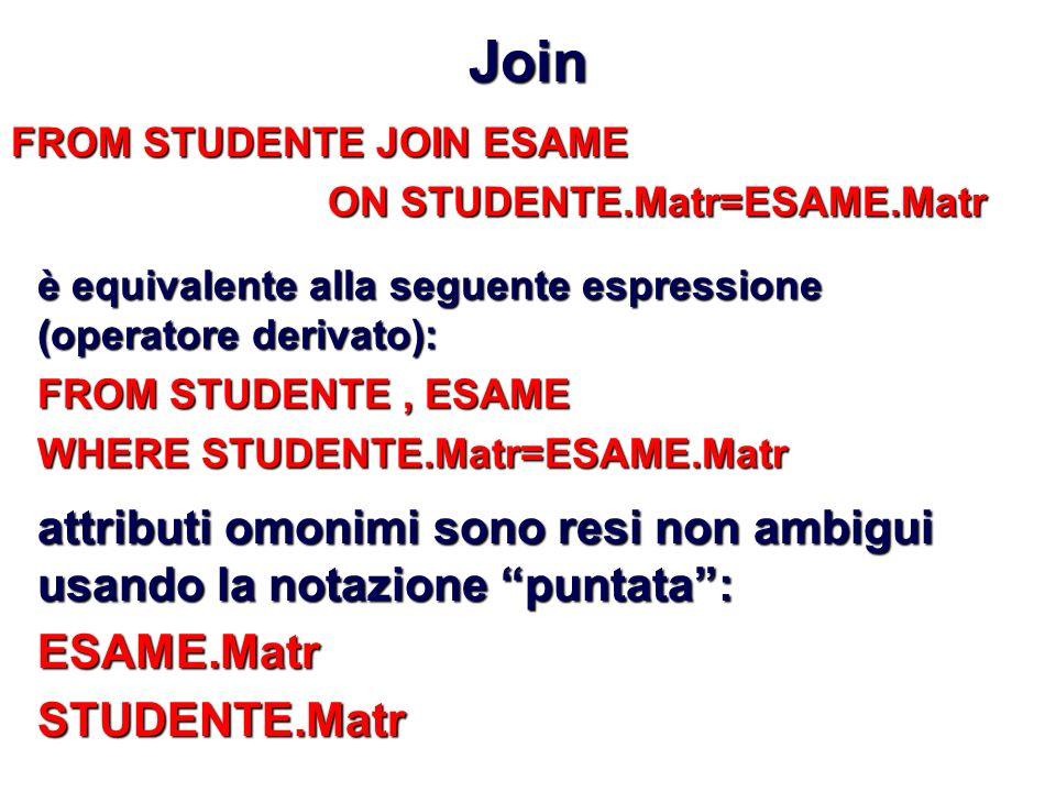 Join FROM STUDENTE JOIN ESAME ON STUDENTE.Matr=ESAME.Matr è equivalente alla seguente espressione (operatore derivato): FROM STUDENTE, ESAME WHERE STUDENTE.Matr=ESAME.Matr attributi omonimi sono resi non ambigui usando la notazione puntata: ESAME.MatrSTUDENTE.Matr