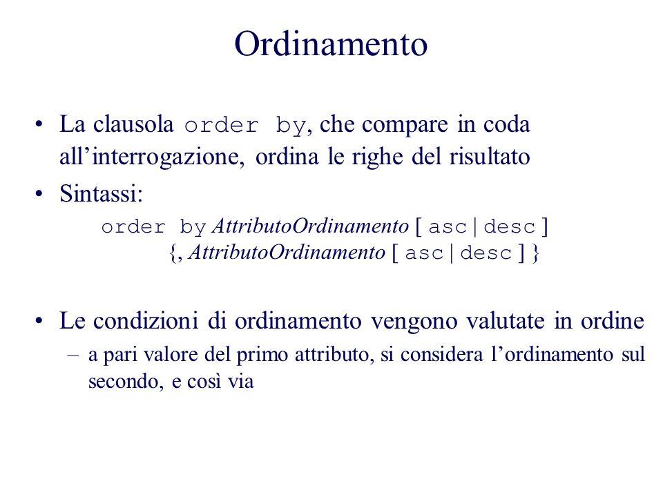 Ordinamento La clausola order by, che compare in coda allinterrogazione, ordina le righe del risultato Sintassi: order by AttributoOrdinamento [ asc | desc ] {, AttributoOrdinamento [ asc | desc ] } Le condizioni di ordinamento vengono valutate in ordine –a pari valore del primo attributo, si considera lordinamento sul secondo, e così via