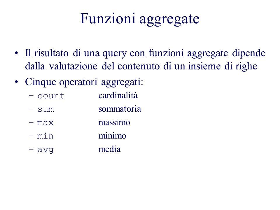 Funzioni aggregate Il risultato di una query con funzioni aggregate dipende dalla valutazione del contenuto di un insieme di righe Cinque operatori aggregati: –count cardinalità –sum sommatoria –max massimo –min minimo –avg media
