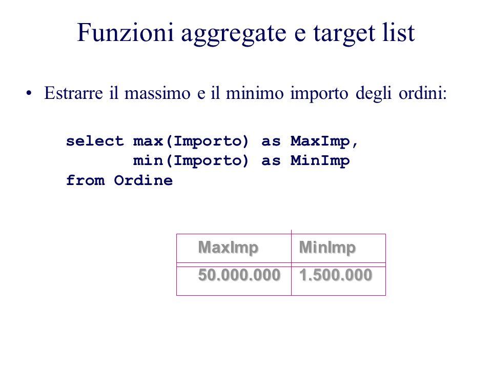 Funzioni aggregate e target list Estrarre il massimo e il minimo importo degli ordini: select max(Importo) as MaxImp, min(Importo) as MinImp from Ordine MaxImp50.000.000MinImp1.500.000