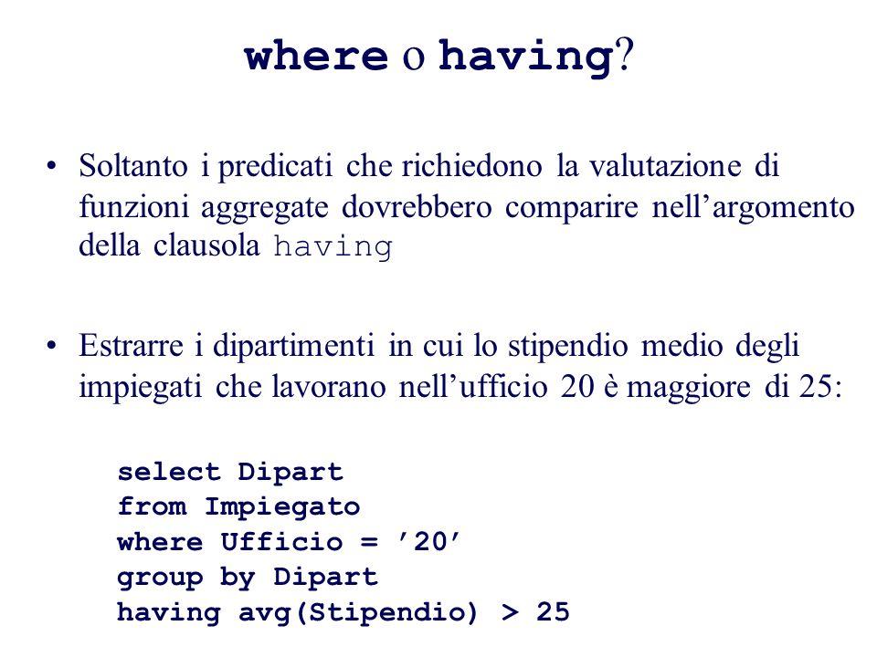 where o having .