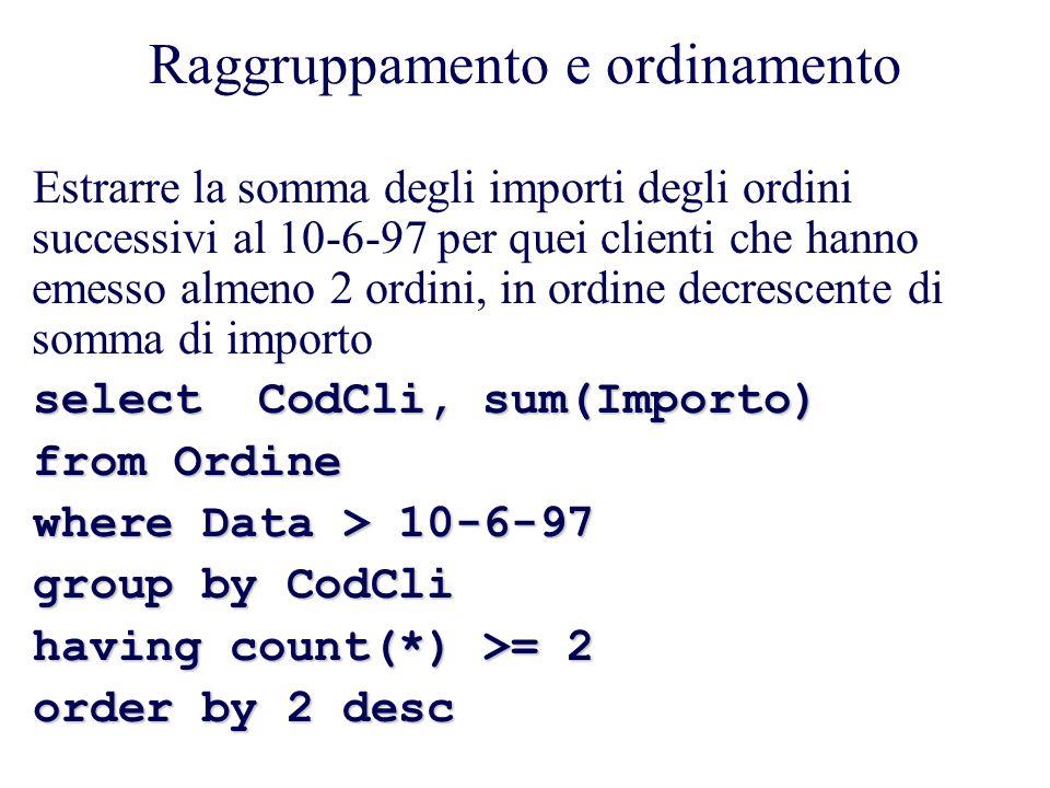 Raggruppamento e ordinamento Estrarre la somma degli importi degli ordini successivi al 10-6-97 per quei clienti che hanno emesso almeno 2 ordini, in ordine decrescente di somma di importo select CodCli, sum(Importo) from Ordine where Data > 10-6-97 group by CodCli having count(*) >= 2 order by 2 desc