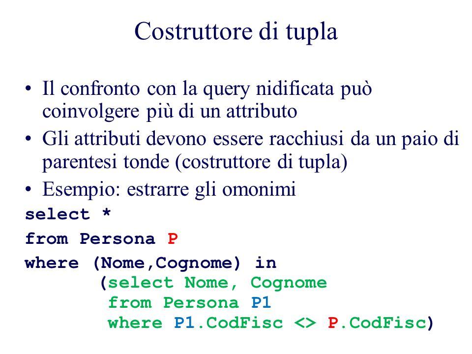 Costruttore di tupla Il confronto con la query nidificata può coinvolgere più di un attributo Gli attributi devono essere racchiusi da un paio di parentesi tonde (costruttore di tupla) Esempio: estrarre gli omonimi select * from Persona P where (Nome,Cognome) in (select Nome, Cognome from Persona P1 where P1.CodFisc <> P.CodFisc)