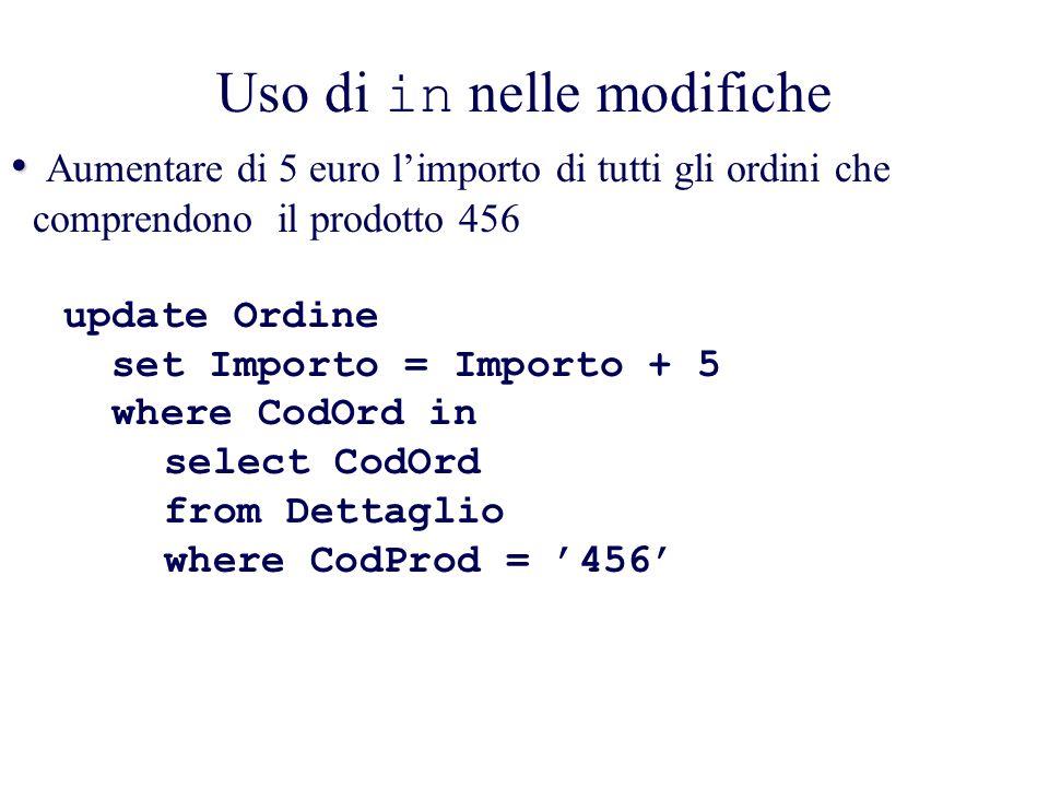 Uso di in nelle modifiche Aumentare di 5 euro limporto di tutti gli ordini che comprendono il prodotto 456 update Ordine set Importo = Importo + 5 where CodOrd in select CodOrd from Dettaglio where CodProd = 456