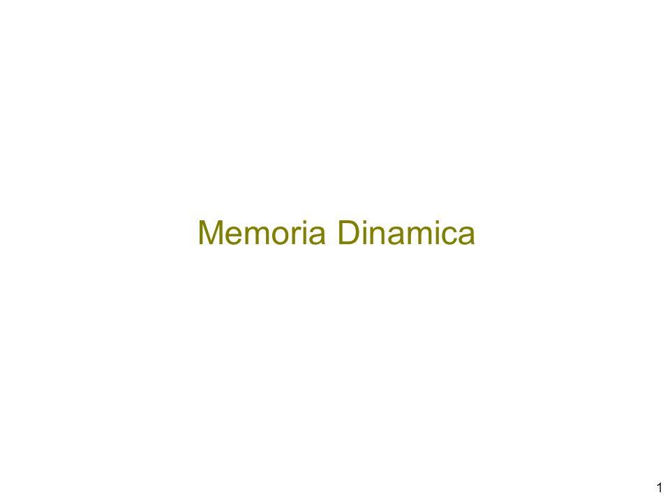 2 In C i dati hanno una dimensione nota a tempo di compilazione ( sizeof(…) ) –La quantità di memoria necessaria per eseguire una funzione è nota al compilatore dimensione di un record di attivazione –Non si conosce, però, il numero di esemplari da allocare (esempio: ricorsione) Come si gestiscono i dati la cui dimensione è nota solo a tempo di esecuzione.