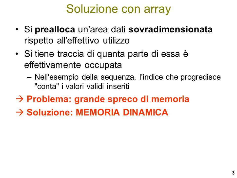 4 Dimensionamento fisso iniziale (ad esempio di array) – problemi tipici: –Spreco di memoria se a runtime i dati sono pochi –Violazione di memoria se i dati sono più del previsto Un accesso oltre il limite dell array ha effetti imprevedibili –Spreco di tempo per ricompattare/spostare i dati Cancellazione di un elemento intermedio in un array ordinato –occorre far scorrere indietro tutti gli elementi successivi Inserimento di un elemento intermedio in un array ordinato –occorre far scorrere in avanti i dati per creare spazio Memoria dinamica: motivazioni