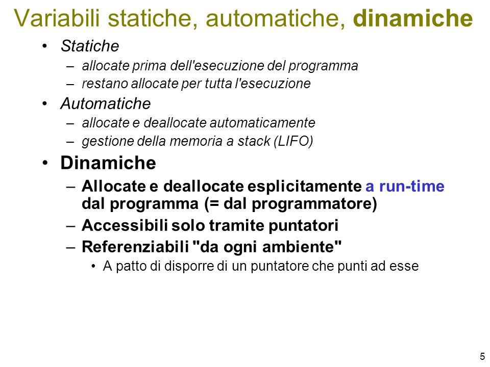 6 La memoria riservata ai dati del programma è partizionata in due zone –pila (stack) per var.
