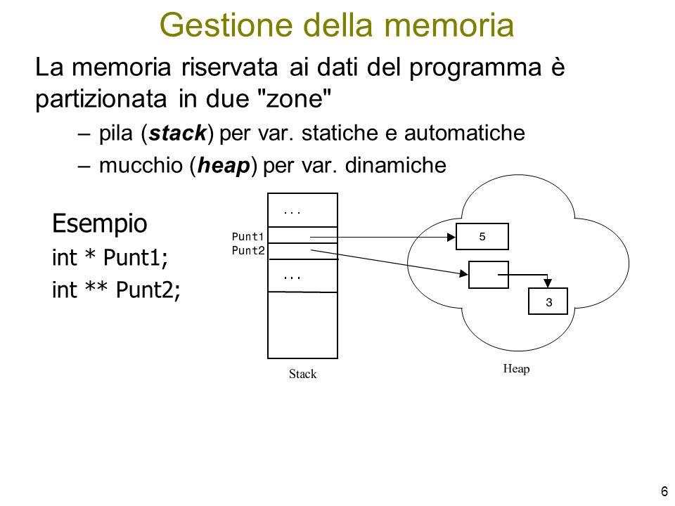 7 Apposite funzioni definite nella standard library si occupano della gestione della memoria dinamica: –malloc(...)memory allocation - per l allocazione –free(...) per il rilascio Il programma le può invocare in qualsiasi momento per agire sullo heap Allocazione e Rilascio di memoria