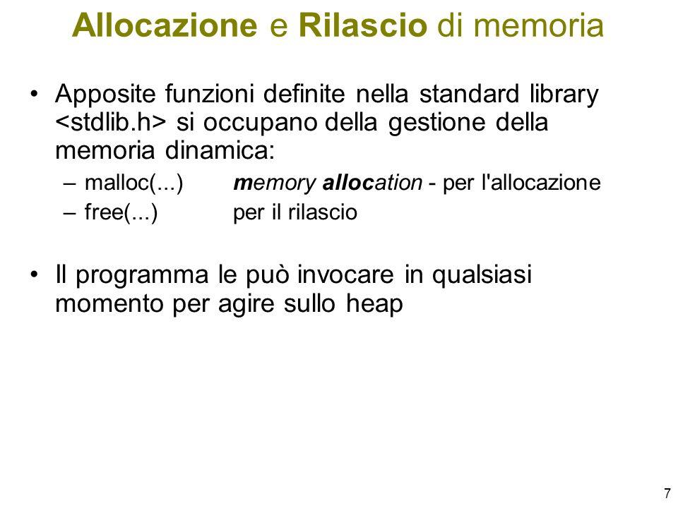 8 La libreria stdlib.h contiene: –Iprototipi delle funzioni di allocazione dinamica della memoria malloc(...) free(...) –La dichiarazione della costante NULL puntatore nullo non punta ad alcuna area significativa di memoria –ANSI impone che rappresenti il valore 0 Puntatori e