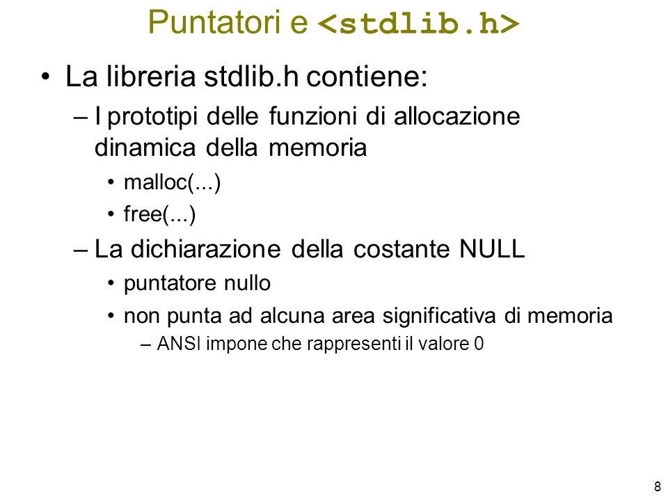 79 void InsInCoda( ListaDiElem * lista, TipoElemento elem ) { ListaDiElem punt; if ( ListaVuota(*lista) ) { punt = (ListaDiElem) malloc(sizeof(ElemLista)); punt–>prox = NULL; punt–>info = elem; *lista = punt; } else InsIncoda( &((*lista)–>prox), elem ); } Inserimento in ultima posizione