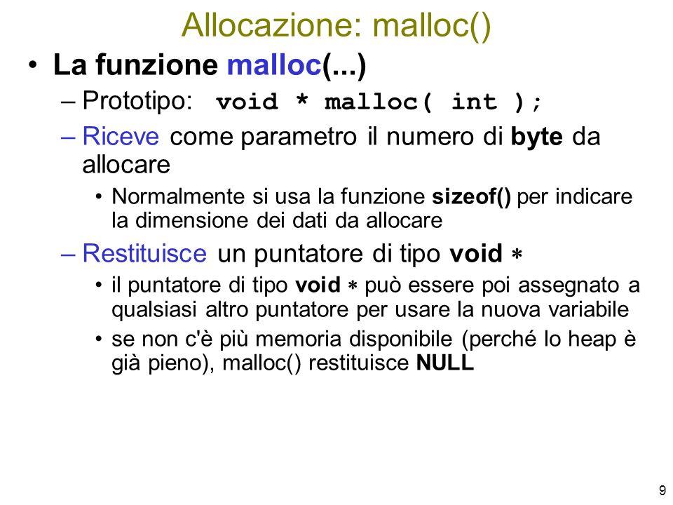 80 void InsInOrd( ListaDiElem * lista, TipoElemento elem ) { ListaDiElem punt, puntCor, puntPrec=NULL; puntCor = *lista; while ( puntCor != NULL && elem > puntCor–>info ) { puntPrec = puntCor; puntCor = puntCor–>prox; } punt = (ListaDiElem) malloc(sizeof(ElemLista)); punt–>info = elem; punt–>prox = puntCor; if( puntPrec != NULL ) /* Ins.
