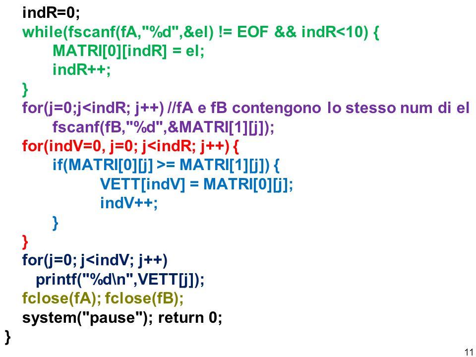 indR=0; while(fscanf(fA,
