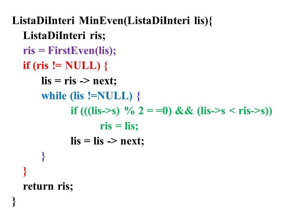 ListaDiInteri MinEven(ListaDiInteri lis){ ListaDiInteri ris; ris = FirstEven(lis); if (ris != NULL) { lis = ris -> next; while (lis !=NULL) { if (((lis->s) % 2 = =0) && (lis->s s)) ris = lis; lis = lis -> next; } return ris; }