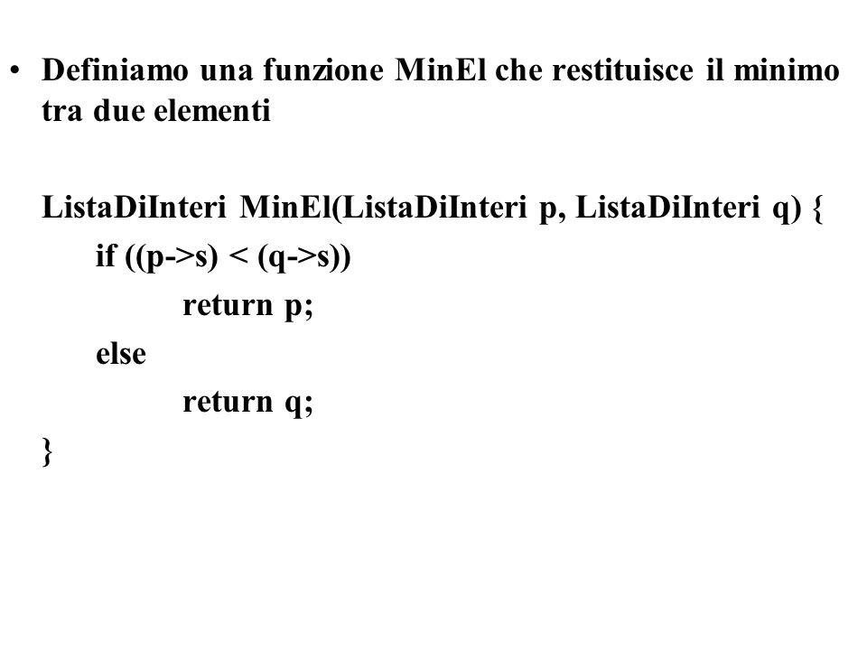 Definiamo una funzione MinEl che restituisce il minimo tra due elementi ListaDiInteri MinEl(ListaDiInteri p, ListaDiInteri q) { if ((p->s) s)) return p; else return q; }