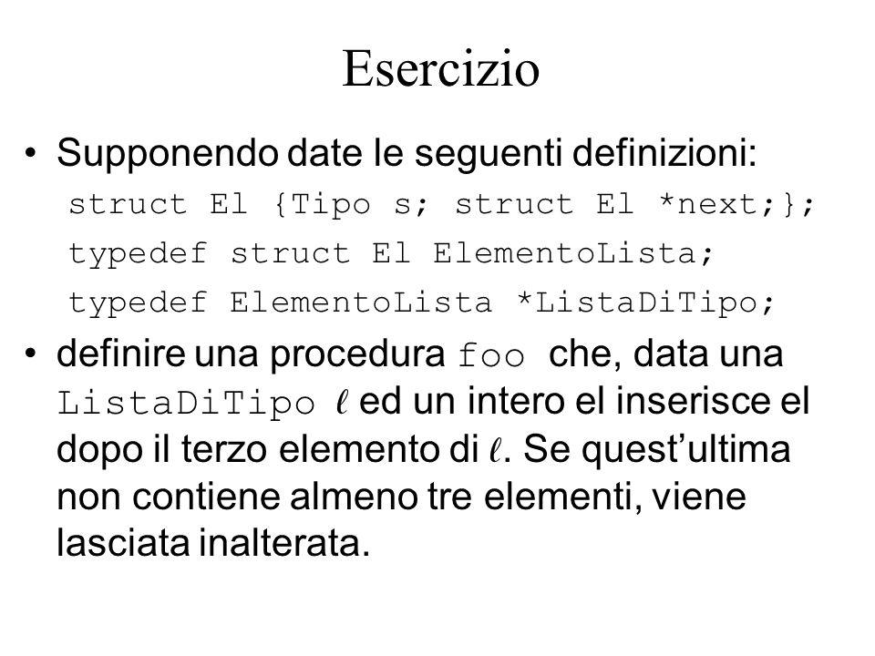 Esercizio Supponendo date le seguenti definizioni: struct El {Tipo s; struct El *next;}; typedef struct El ElementoLista; typedef ElementoLista *ListaDiTipo; definire una procedura foo che, data una ListaDiTipo ed un intero el inserisce el dopo il terzo elemento di.