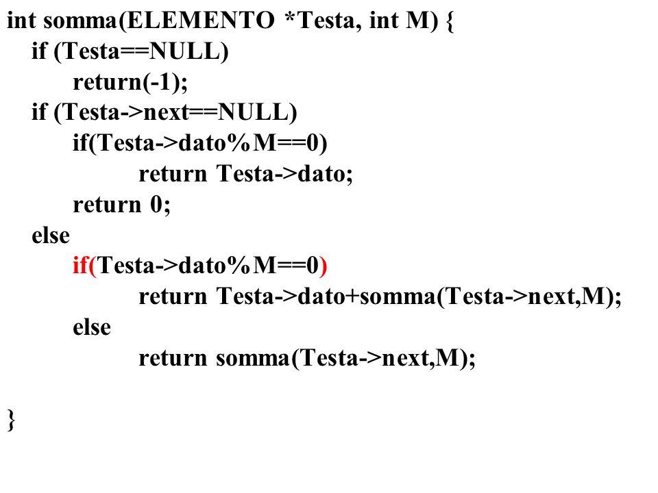 int somma(ELEMENTO *Testa, int M) { if (Testa==NULL) return(-1); if (Testa->next==NULL) if(Testa->dato%M==0) return Testa->dato; return 0; else if(Testa->dato%M==0) return Testa->dato+somma(Testa->next,M); else return somma(Testa->next,M); }