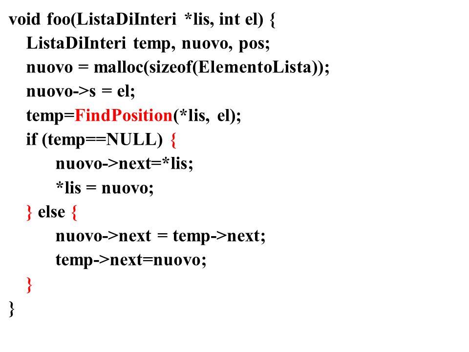 void foo(ListaDiInteri *lis, int el) { ListaDiInteri temp, nuovo, pos; nuovo = malloc(sizeof(ElementoLista)); nuovo->s = el; temp=FindPosition(*lis, el); if (temp==NULL) { nuovo->next=*lis; *lis = nuovo; } else { nuovo->next = temp->next; temp->next=nuovo; }