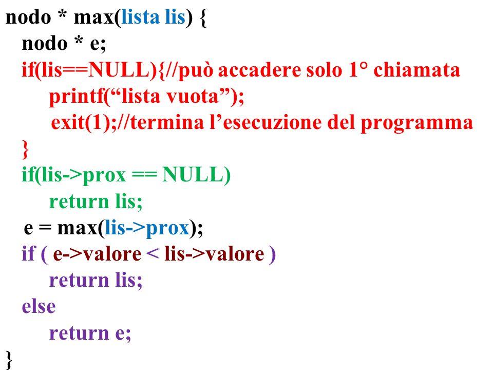 nodo * max(lista lis) { nodo * e; if(lis==NULL){//può accadere solo 1° chiamata printf(lista vuota); exit(1);//termina lesecuzione del programma } if(lis->prox == NULL) return lis; e = max(lis->prox); if ( e->valore valore ) return lis; else return e; }