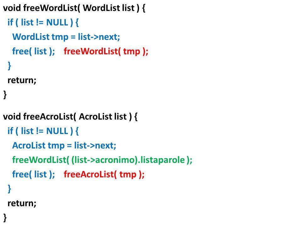 void freeWordList( WordList list ) { if ( list != NULL ) { WordList tmp = list->next; free( list ); freeWordList( tmp ); } return; } void freeAcroList