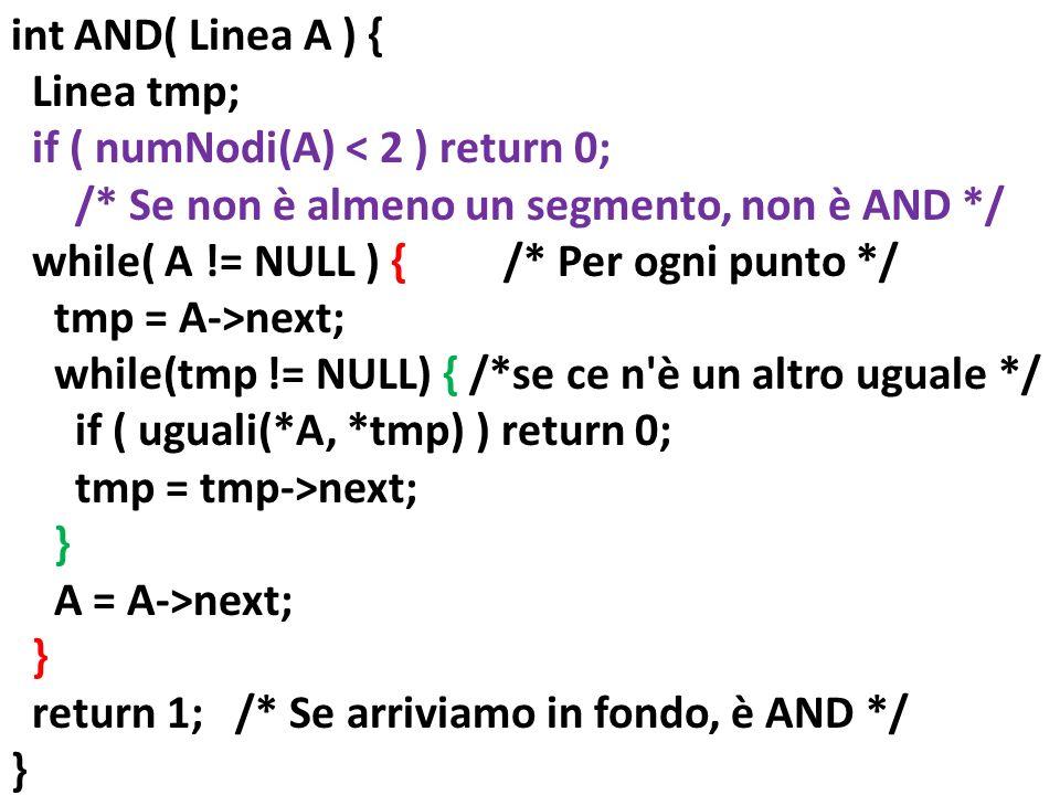 int AND( Linea A ) { Linea tmp; if ( numNodi(A) < 2 ) return 0; /* Se non è almeno un segmento, non è AND */ while( A != NULL ) { /* Per ogni punto */