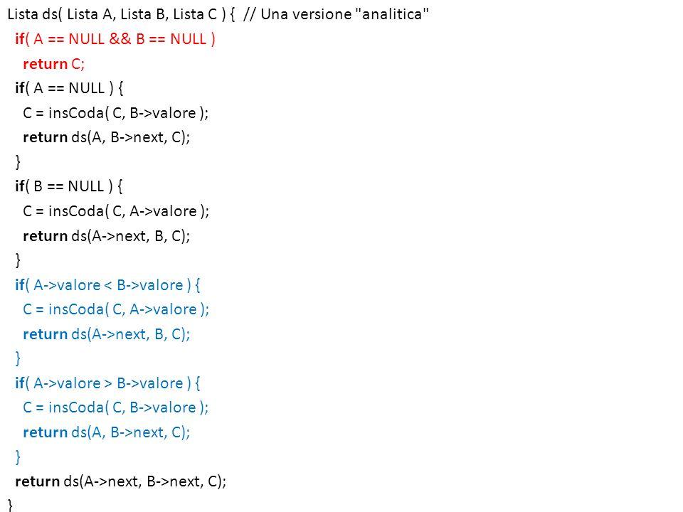 Lista ds( Lista A, Lista B, Lista C ) { // Una versione