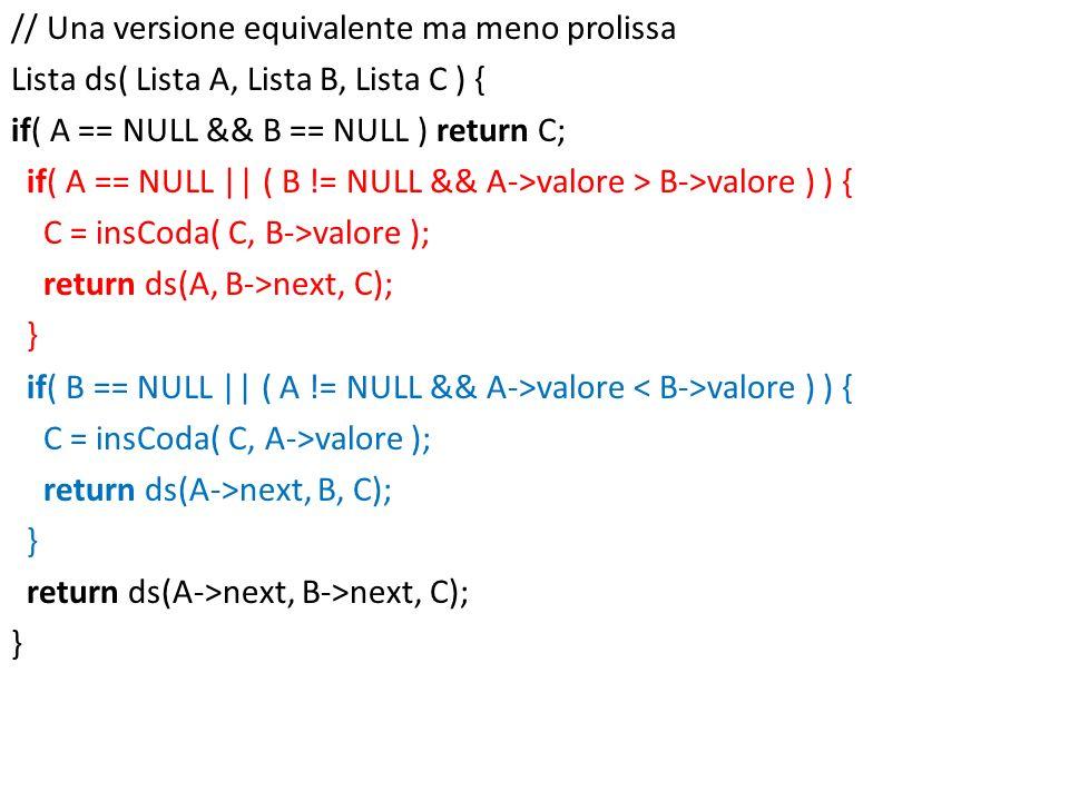 // Una versione equivalente ma meno prolissa Lista ds( Lista A, Lista B, Lista C ) { if( A == NULL && B == NULL ) return C; if( A == NULL || ( B != NU