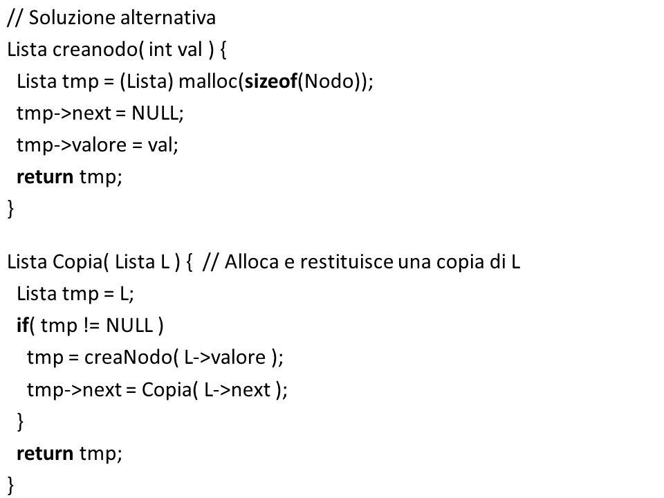 // Soluzione alternativa Lista creanodo( int val ) { Lista tmp = (Lista) malloc(sizeof(Nodo)); tmp->next = NULL; tmp->valore = val; return tmp; } List