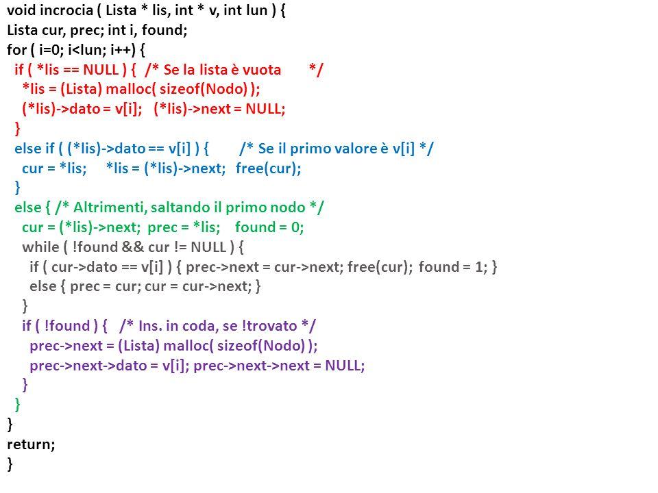 Lista ds( Lista A, Lista B ) { Lista tmp; if( A == NULL && B == NULL ) return NULL; if( B != NULL && B != NULL && A->valore == B->valore ) return ds(A->next, B->next); tmp = (Lista) malloc(sizeof(Nodo)); if ( B == NULL || (A != NULL && A->valore valore) ) { tmp->valore = A->valore; A = A->next; } else { // qui è garantito che A == NULL || B != NULL && A->valore > B->valore tmp->valore = B->valore; B = B->next; } tmp->next = ds(A, B); return tmp; }