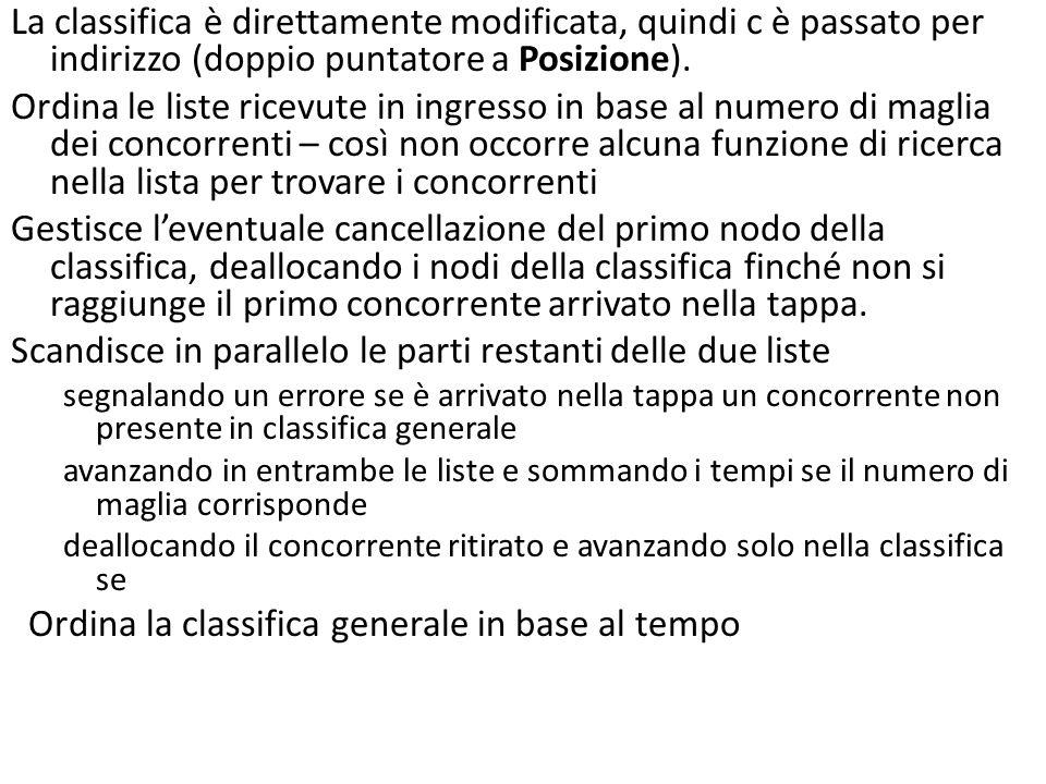 void aggiorna( Tappa t, Classifica *c ) { Classifica cur, tmp; t = ordTappaM( t ); *c = ordClassM( *c ); cur = *c; while ( (*c)->concorrente concorrente ) { *c = (*c)->next; free(cur); cur = *c; } while ( cur != NULL && t != NULL ) { if ( cur->concorrente > t->concorrente ) { printf(ERRORE); exit(-1); } else if ( cur->concorrente == t->concorrente ) { cur->t_totale = sum( cur->t_totale, t->t_totale ); cur = cur->next; t = t->next; } else { /* dealloco il nodo se il conc.
