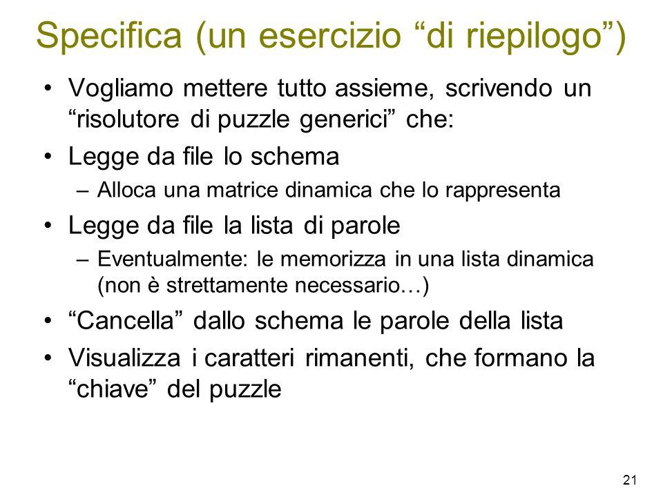 21 Specifica (un esercizio di riepilogo) Vogliamo mettere tutto assieme, scrivendo un risolutore di puzzle generici che: Legge da file lo schema –Allo