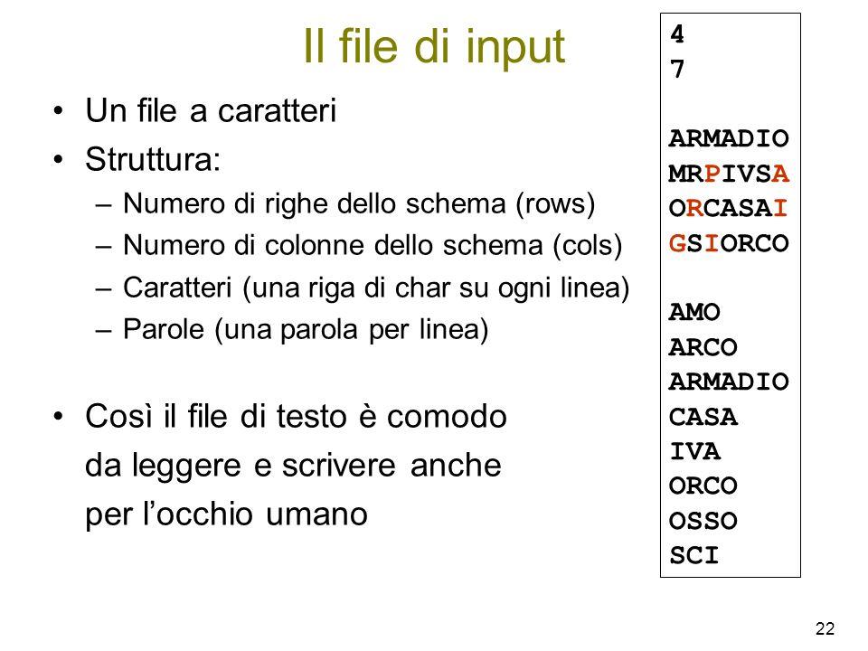 22 Il file di input Un file a caratteri Struttura: –Numero di righe dello schema (rows) –Numero di colonne dello schema (cols) –Caratteri (una riga di