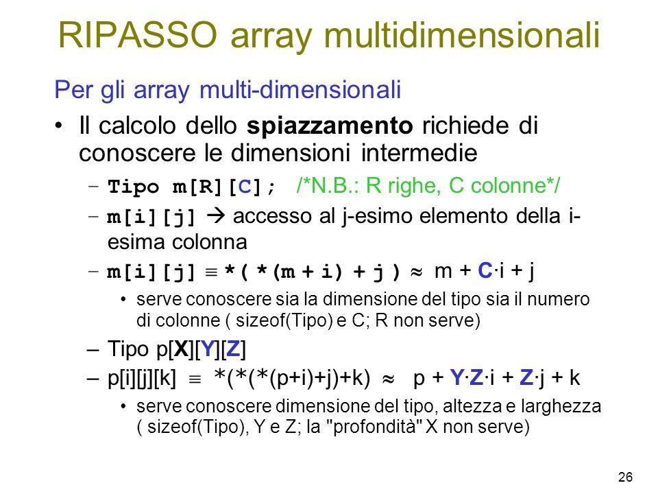 26 Per gli array multi-dimensionali Il calcolo dello spiazzamento richiede di conoscere le dimensioni intermedie –Tipo m[R][C]; /*N.B.: R righe, C col