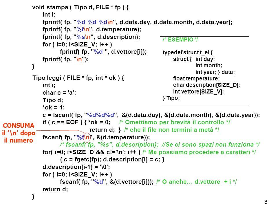 19 void generaSTRTOK( Node * *head, FILE * fp ) { char buff[500], *z, *sep = .,;:+*-/!? ()\t\n\ \\<> ; while( fgets(buff, 100, fp) != NULL ) { z = strtok(buff, sep); while (z != NULL) { if (strlen(z) > 2) *head = ins_ord(*head, z); z = strtok(NULL, sep); /* Estrazione da buff */ } /* del token successivo */ } /* NB: strtok restituisce NULL alla fine della stringa */ } char * strtok( char * stringa, char * separatori ); La funzione strtok riceve come 1° argomento una stringa da tokenizzare e come 2° argomento un altra stringa che contiene tutti i caratteri da considerare separatori di token .
