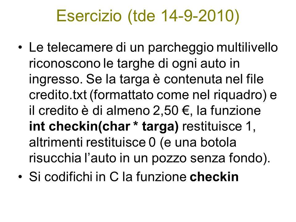 Esercizio (tde 14-9-2010) Le telecamere di un parcheggio multilivello riconoscono le targhe di ogni auto in ingresso. Se la targa è contenuta nel file