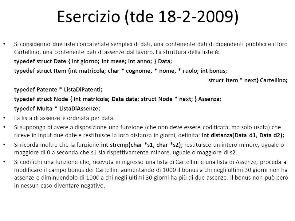 Esercizio (tde 18-2-2009) Si considerino due liste concatenate semplici di dati, una contenente dati di dipendenti pubblici e il loro Cartellino, una