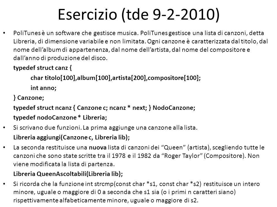 Esercizio (tde 9-2-2010) PoliTunes è un software che gestisce musica. PoliTunes gestisce una lista di canzoni, detta Libreria, di dimensione variabile