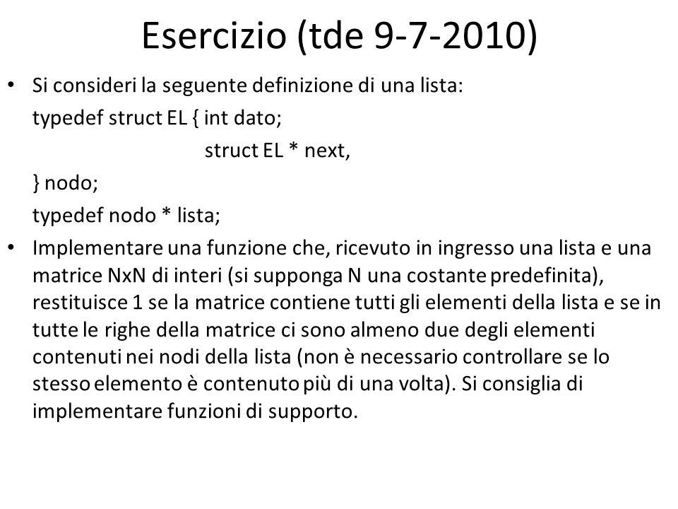Esercizio (tde 9-7-2010) Si consideri la seguente definizione di una lista: typedef struct EL { int dato; struct EL * next, } nodo; typedef nodo * lis