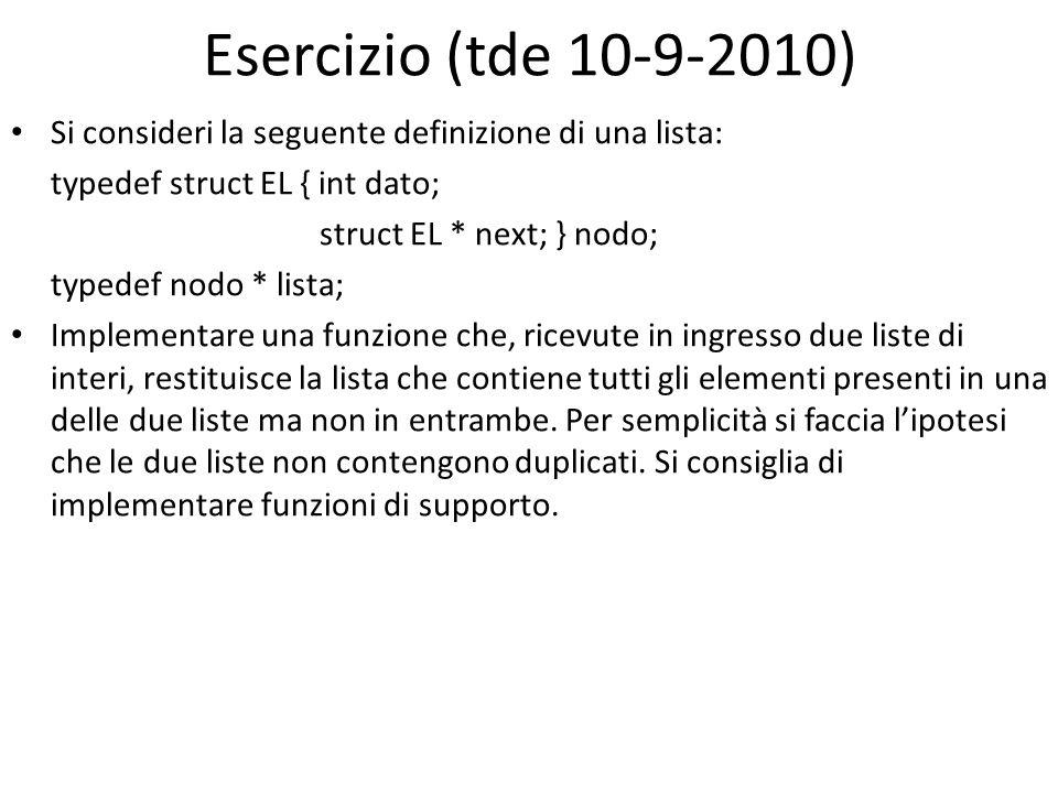 Esercizio (tde 10-9-2010) Si consideri la seguente definizione di una lista: typedef struct EL { int dato; struct EL * next; } nodo; typedef nodo * li
