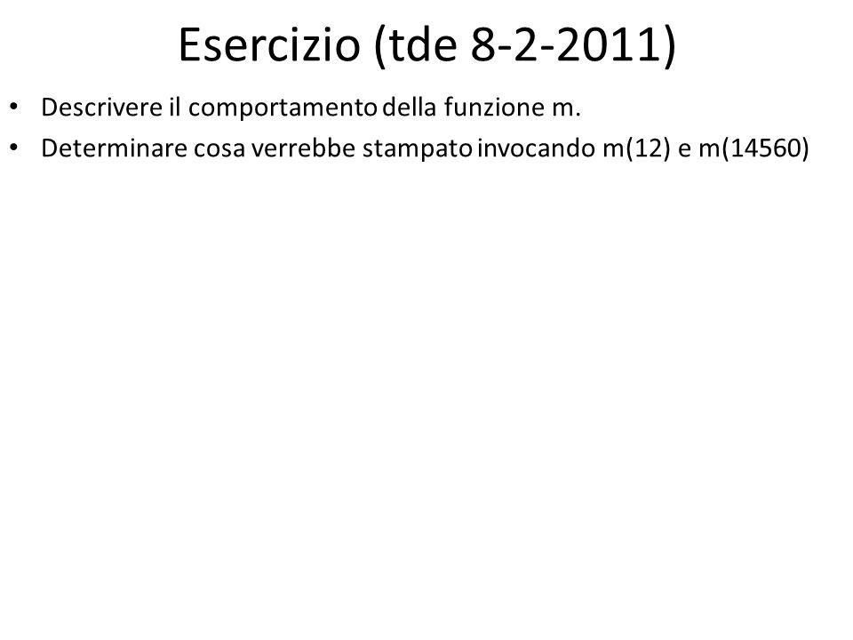 Esercizio (tde 8-2-2011) Descrivere il comportamento della funzione m. Determinare cosa verrebbe stampato invocando m(12) e m(14560)
