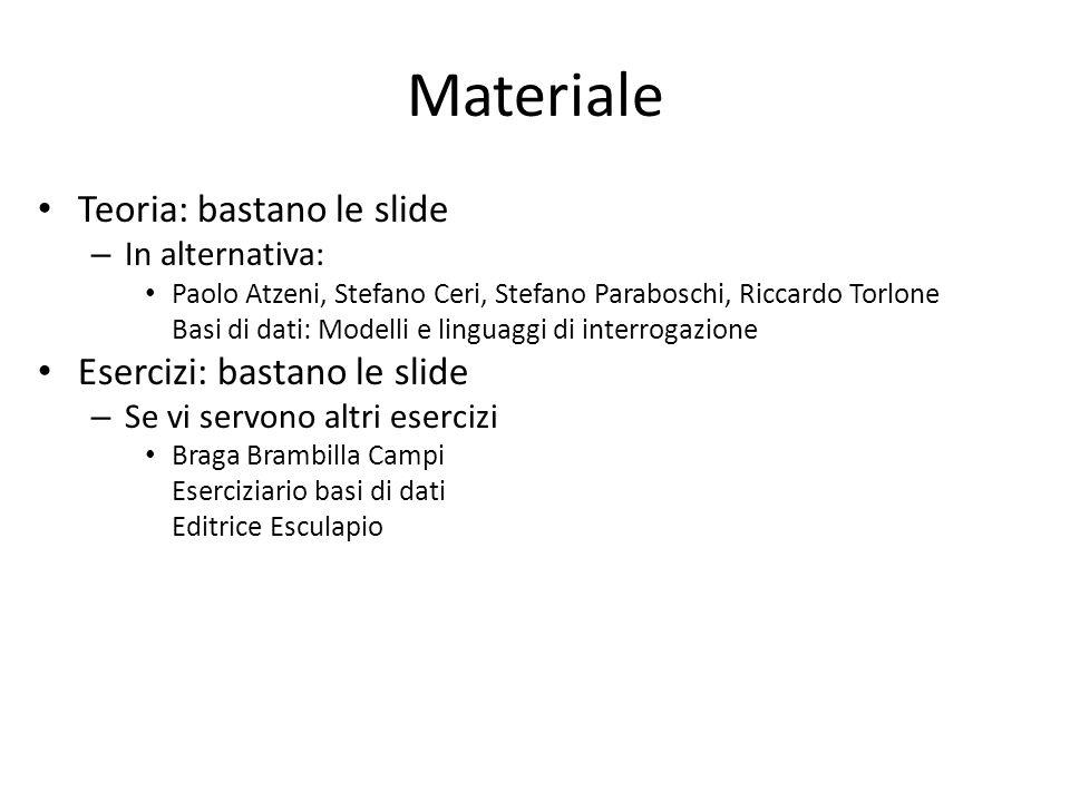 Materiale Teoria: bastano le slide – In alternativa: Paolo Atzeni, Stefano Ceri, Stefano Paraboschi, Riccardo Torlone Basi di dati: Modelli e linguagg