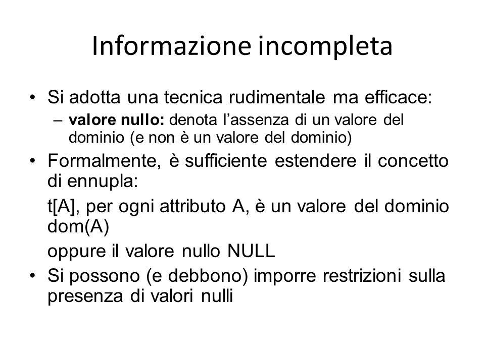 Informazione incompleta Si adotta una tecnica rudimentale ma efficace: –valore nullo: denota lassenza di un valore del dominio (e non è un valore del