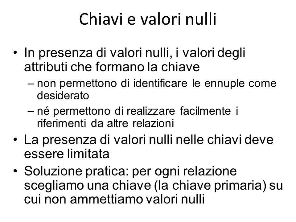 Chiavi e valori nulli In presenza di valori nulli, i valori degli attributi che formano la chiave –non permettono di identificare le ennuple come desi