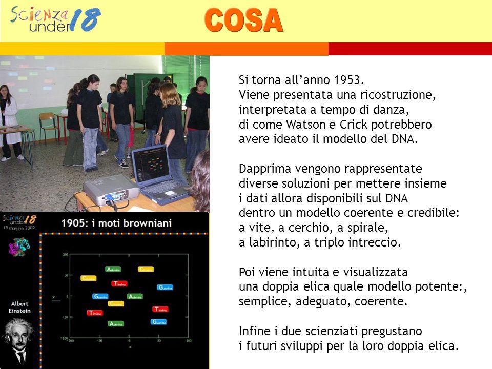 Mentre Watson e Crick discutono tra loro le diverse ipotesi sul DNA si odono via via delle musiche sulle quali gli alunni-elementi interpretano in successive danze le varie proposte dei due scienziati.