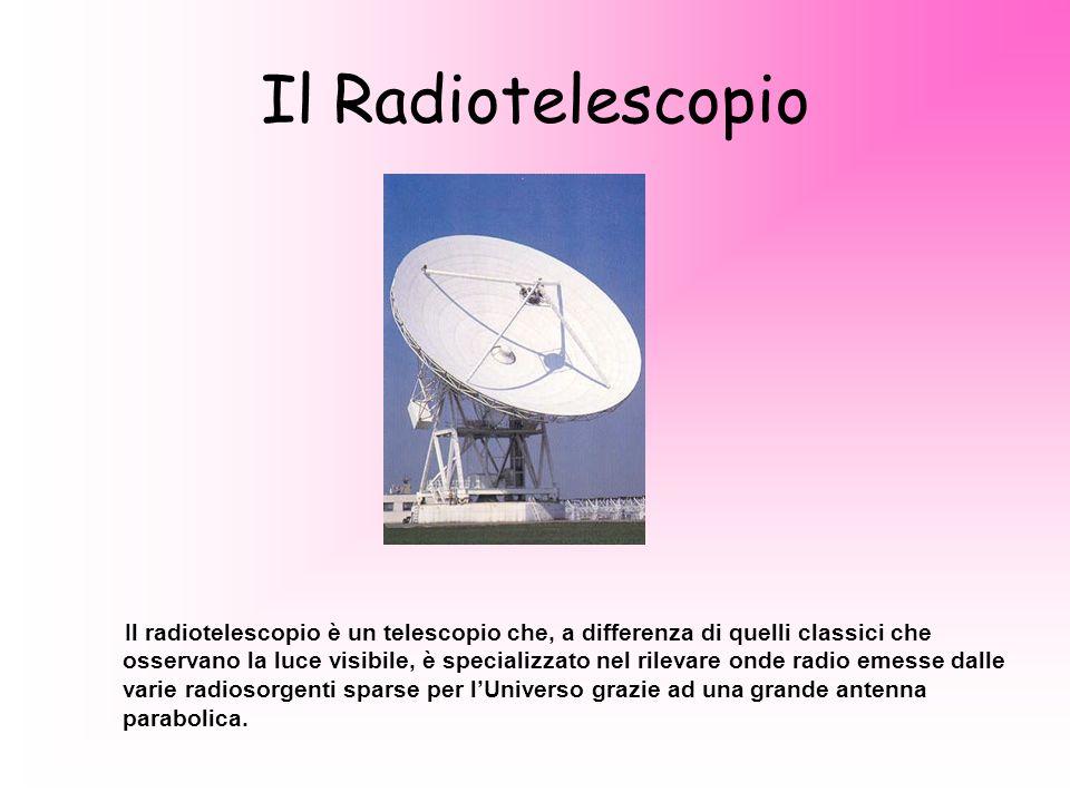 Il Radiotelescopio Il radiotelescopio è un telescopio che, a differenza di quelli classici che osservano la luce visibile, è specializzato nel rilevare onde radio emesse dalle varie radiosorgenti sparse per lUniverso grazie ad una grande antenna parabolica.