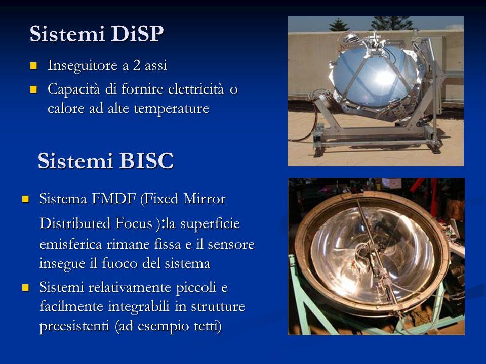 Sistemi DiSP Inseguitore a 2 assi Inseguitore a 2 assi Capacità di fornire elettricità o calore ad alte temperature Capacità di fornire elettricità o