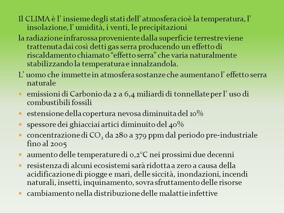 Il CLIMA è l insieme degli stati dell atmosfera cioè la temperatura, l insolazione, l umidità, i venti, le precipitazioni la radiazione infrarossa pro