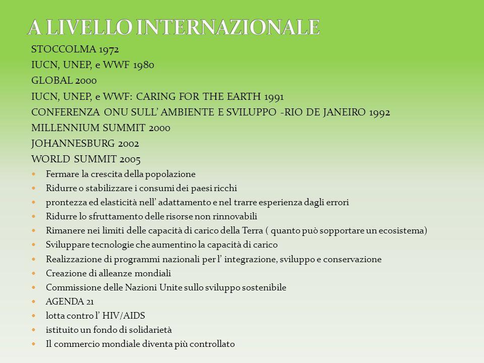 STOCCOLMA 1972 IUCN, UNEP, e WWF 1980 GLOBAL 2000 IUCN, UNEP, e WWF: CARING FOR THE EARTH 1991 CONFERENZA ONU SULL AMBIENTE E SVILUPPO -RIO DE JANEIRO