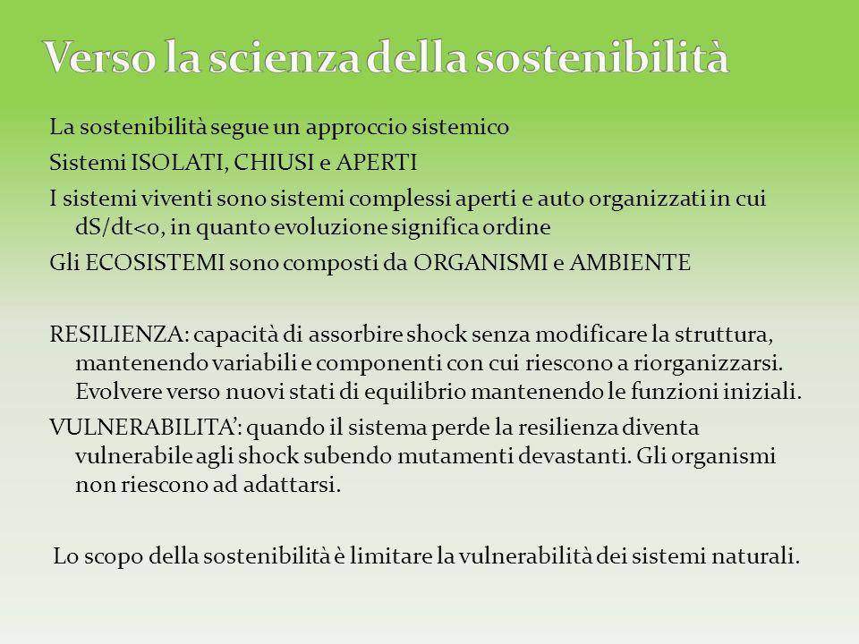 La sostenibilità segue un approccio sistemico Sistemi ISOLATI, CHIUSI e APERTI I sistemi viventi sono sistemi complessi aperti e auto organizzati in c